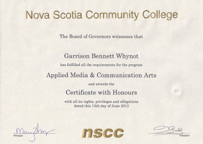 Certificate With Honours